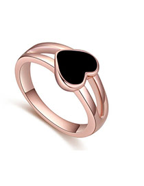 Fashion Black Heart Shape Decorated Hollow Out Design Ring
