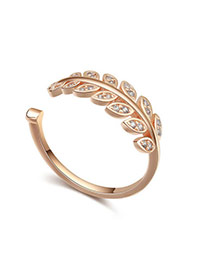 Fashion Rose Gold Diamond Decorated Leaf Shape Design Opening Ring