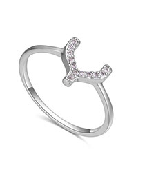 Fashion Silver Color Diamond Decorated U Shape Design Simple Ring