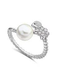 Fashion Silver Color Pearl&diamond Decorated Lamb Shape Simple Earring