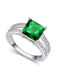 Fashion Green Square Shape Diamond Decorated Hollow Out Design Ring