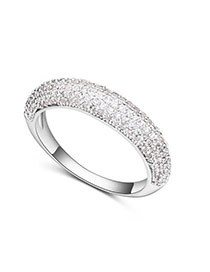 Fashion Silver Color Diamond Decorated Irregular Shape Design Ring