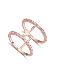 Fashion White+rose Gold Diamond Decorated Double Layer Hollow Out Design Ring