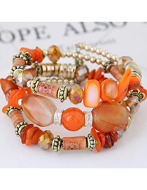 Trendy Orange Beads Decorated Color Matching Multi-layer Simple Bracelet