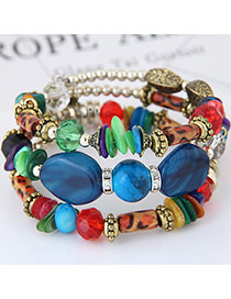 Trendy Dark Blue Beads Decorated Color Matching Multi-layer Simple Bracelet