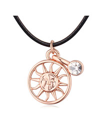 Fashion Rose Gold Hollow Out Sun Shape Pendant Decorated Simple Necklace