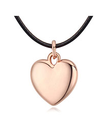 Fashion Rose Gold Heart Pendant Decorated Simple Necklace