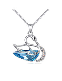 Fashion Blue Diamond Decorated Hollow Out Swan Design Simple Necklace