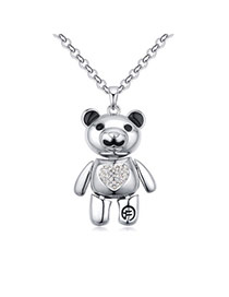 Fashion Silver Color Bear Pendant Decorated Color Matching Simple Necklace