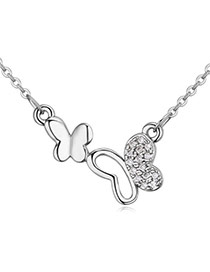 Fashion Silver Color Diamond Decorated Butterfly Shape Simple Necklace