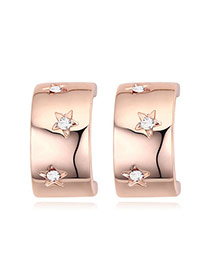 Fashion Rose Gold+white Diamond Decorated Star Shape Design Simple Earrings