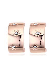 Fashion Rose Gold+black Diamond Decorated Star Shape Design Simple Earrings