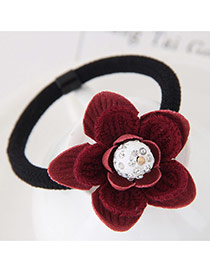 Fashion Red Diamond Decorated Flower Design Simple Hair Band