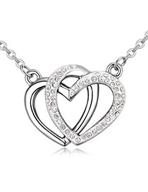 Fashion White Heart Shape Pendant Decorated Hollow Out Design Necklace