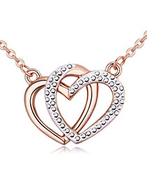 Fashion Rose Gold +black Heart Shape Pendant Decorated Hollow Out Design Necklace