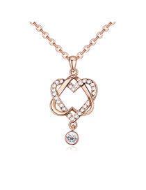 Fashion Rose Gold+white Double Heart Shape Pendant Decorated Hollow Out Design Necklace