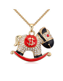Fashion Champagne+red Round Shape Diamond Decorated Whirligig Shape Design Necklace