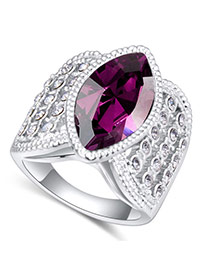 Fashion Purple Oval Shape Diamond Decorated Irregular Shape Design Ring