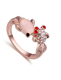 Fashion Rose Gold+white Oval Shape Diamond Decorated Goldfish Shape Design Ring