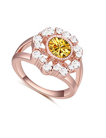 Fashion Rose Gold+yellow Big Round Diamond Decorated Hollow Out Flower Design Ring