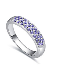 Fashion Purple Round Diamond Decorated Color Matching Design Ring