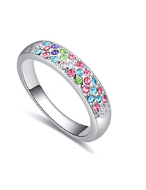 Fashion Multi-color Round Diamond Decorated Color Matching Design Ring
