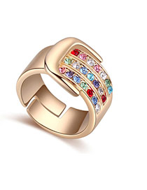 Fashion Multi-color Diamond Decorated Buckle Shape Design Ring