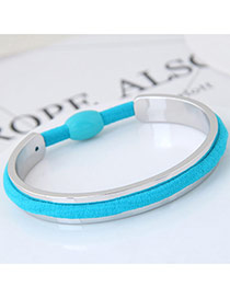 Elegant Blue Color Matching Decorated Rubber Band Design Opening Bracelet
