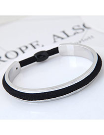 Elegant Black Color Matching Decorated Rubber Band Design Opening Bracelet