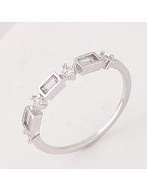 Elegant Silver Color Pure Color Decorated Geometric Shape Design Ring