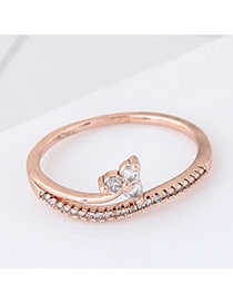 Elegant Rose Gold Pure Color Decorated Flower Shape Design Ring