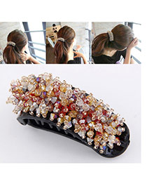 Fashion Multi-color Beads Decorated Color Matching Design Hair Claw