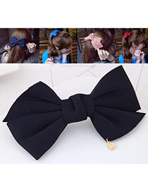 Fashion Dark Blue Bowknot Decorated Pure Color Design Hair Claw
