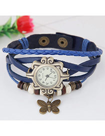 Vintage Sapphire Blue Butterfly Pendant Decorated Multi-color Simple Watch