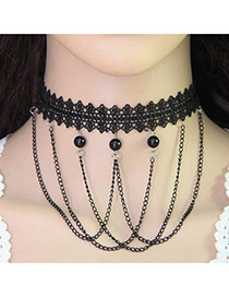 Fashion Black Choker Decorated With Chains&beads