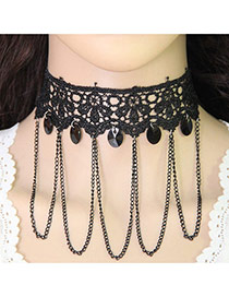 Vintage Black Hollw-out Choker Decorated With Chains&beads
