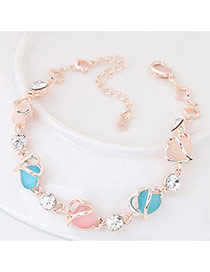 Cute Light Blue Heart Shape Diamond Decorated Simple Bracelet