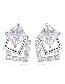 Elegant White Square Shape Diamond Decorated Simple Earrings
