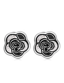 Elegant Black Color Matching Decorated Simple Rose Design Earrings
