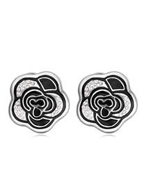 Elegant Black Color Matching Decorated Simple Rose Design Earrings