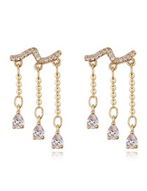 Fashion Gold Color Oval Shape Diamond Decoratedc Simple Tassel Earrings