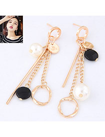 Fashion Gold Color+black Pearls&circular Ring Pendant Decorated Asymmetric Earrings