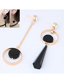 Fashion Gold Color+black Bullet&circular Ring Pendant Decorated Asymmetric Earrings