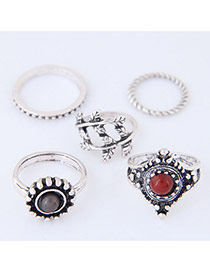 Trendy Antique Silver Round Shape Diamond Decorated Irregular Shape Ring(5pc)