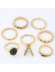 Trendy Antique Gold Round Shape Diamond Decorated Irregular Shape Ring(7pc)