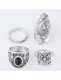 Trendy Antique Silver Oval Shape Diamond Decorated Irregular Shape Ring(4pc)