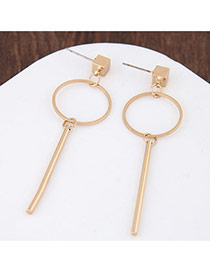 Personalized Gold Color Vertical Shape Pendant Decorated Pure Color Earrings