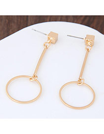 Personalized Gold Color Circles Pendant Decorated Pure Color Earrings