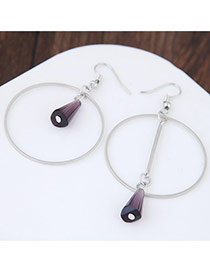 Elegant Purple Bullet Shape Pendant Decorated Color Matching Simple Earrings