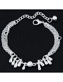 Fashion Silvercolor Water Drop Shape Pendant Decorated Pure Color Multi-layer Bracelet